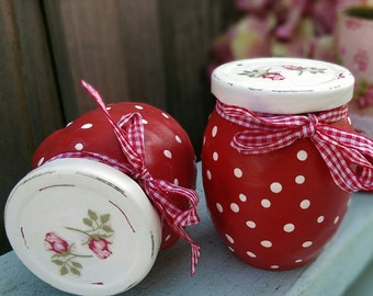 Glass Jars Set of 2 Red White Polka Dots Mary Engelbreit Inspired Shabby and Chic Rosebuds Decoupage Kitchen Home Office Decor Teacher Gift