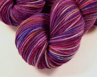 Hand Dyed Yarn, Sport Weight Superwash Merino Wool Yarn - Potluck Speckled Wild Orchid - Knitting Yarn, Sock Yarn, Purple Yarn, Speckles