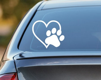 Dog Decal, Heart Paw Decal, Dog Paw Decal, Dog Paw, Cat Decal, Cat Paw Decal, Dog Car Decal, Cat Car Decal, Laptop Decal, Laptop Sticker