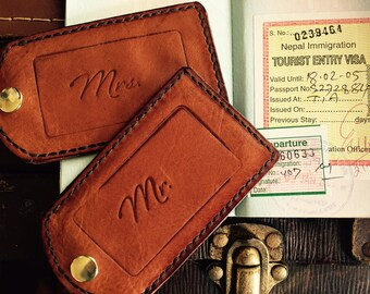 Honeymooners  - Pair of Handstitched Matching Leather Luggage Tags, Vintage Glamour, Wedding Gift