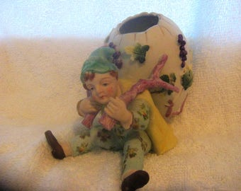 ARDALT ELF FIGURINE Egg Applied Flowers Very Rare Easter