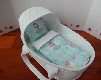 Reborn Doll Bed | Baby Doll Basket | 17 Inch | White, Aqua, Pink | Fairy Theme | Doll Bassinet | 15 Inch Doll Bed | 16 Inch Doll Bed