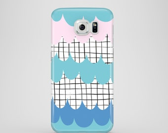 Doodle Waves Samsung Galaxy S7 case / iPhone X / iPhone 8 / iPhone 7, 6, 5, turquoise Samsung Galaxy S7 case / water Samsung Galaxy S6 case