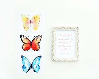 Butterfly Watercolor Postcard and Print Set 1