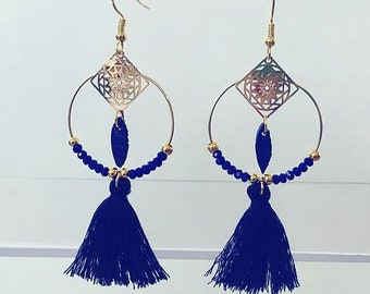 Earrings Bohemian blue spring summer
