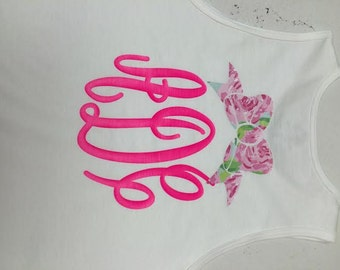 Monogrammed White Tanks..Lilly Bow...Great for Bathing Suit Cover Ups or Wedding Party.....You Choose Monogram Style