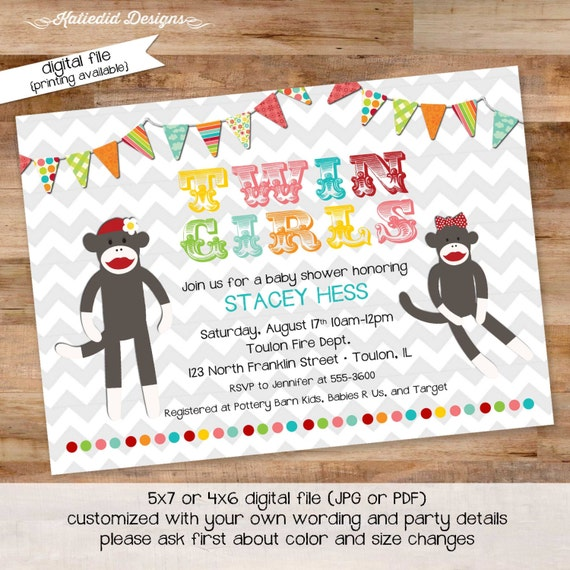 twins baby shower invitation rainbow sock monkey bunting banner gender reveal neutral girl gay LGBT couples coed sprinkle | 1520 Katiedid