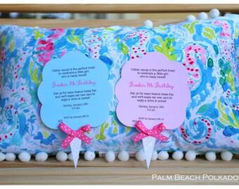 10 Cotton Candy Carnival Birthday Invitations  Invite by  Palm beach Polkadots