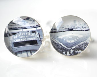 Chicago Cubs and Wrigley Field cufflinks mens sport accessories stainless steel cuff links handcrafted in the USA