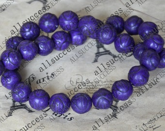 15inch 11mm Single purple carved round tuquoise beads,gemstone cham,turquoise charm,turquoise stone loose strand