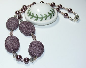Purple Pressed Straw & Glass Pearl Bead Handmade Necklace
