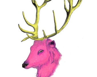 """Pink Deer Antlers art print of an original drawing available 5x7"""" or 8x10"""""""