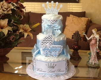 Prince diaper cake/Welcome little prince diaper cake/Prince baby shower centerpiece/Diaper cake/Boy diaper cake/Boy baby shower centerpiece