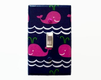 Whale Light Switch Cover - Pink Whales Switch Plate - Pink Navy Girls Nursery - Nautical Switch Plate