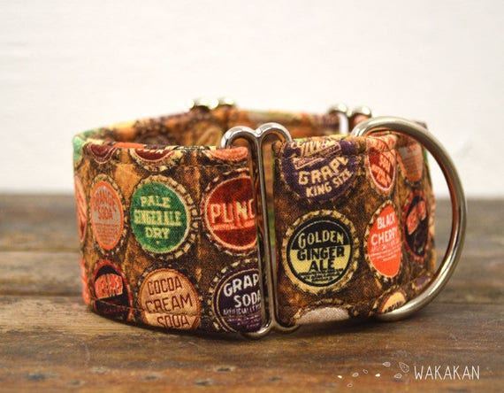 Martingale dog collar model Soda. Adjustable and handmade with 100% cotton fabric. retro style, antique. Wakakan