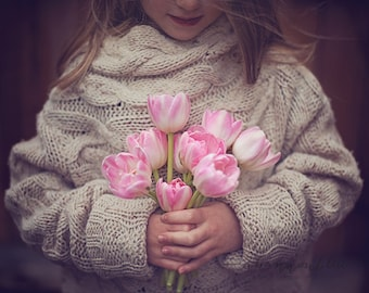 tulip girl photography / mother's day, gift, pink, flower, child, pink, sweet, spring / flower child / 8x10 fine art photo