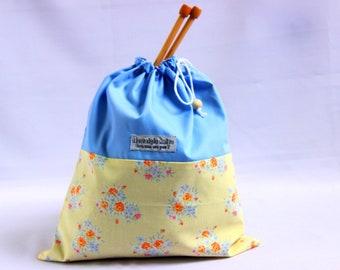 large knitting bag, yellow drawstring bag, yellow flowers sock project bag, yarn fabric bag, fabric drawstring bag, crochet knitting gifts