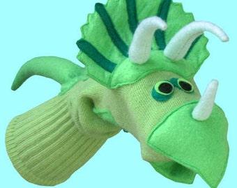 Handmade Dinosaur Sock Puppet Triceratops