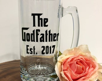 The Godfather Glass-Gift for Godfather-Gift for Godparents-Will You Be The Godfather-Baptism Gift-Christening Gift- Baby Reveal Gift