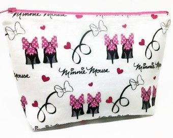 Minnie Mouse Stilettos Zipper Pouch ~ Cosmetics Bag ~ Standup Pouch ~ Essentials/Accessories Pouch ~ Rare Hard to Find Fabric