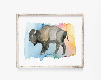 "Rainbow Bison 5x7"" Art Print"