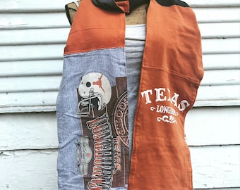 T-Shirt Scarf - LONGHORNS - UT - University of Texas Scarf - T-Shirt Patched Scarf - Fall Scarf - #5 - BM