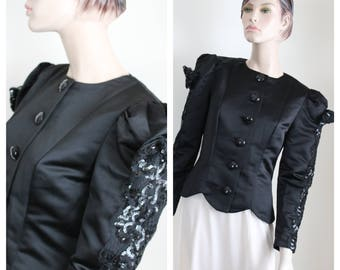 Vintage Black Satin Blouse Top Evenings by Raul Blanco, 1980s Formal Sequins Lace Bows Size 6 Form Fitting
