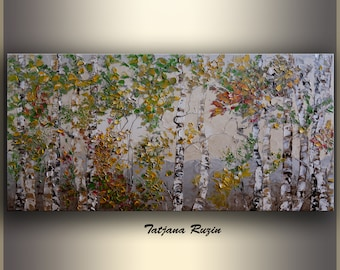 Birch Trees painting by Tatjana, Oil Painting, palette knife, Large Wall Art, Abstract Landscape Painting, Art Painting, Original Artwork