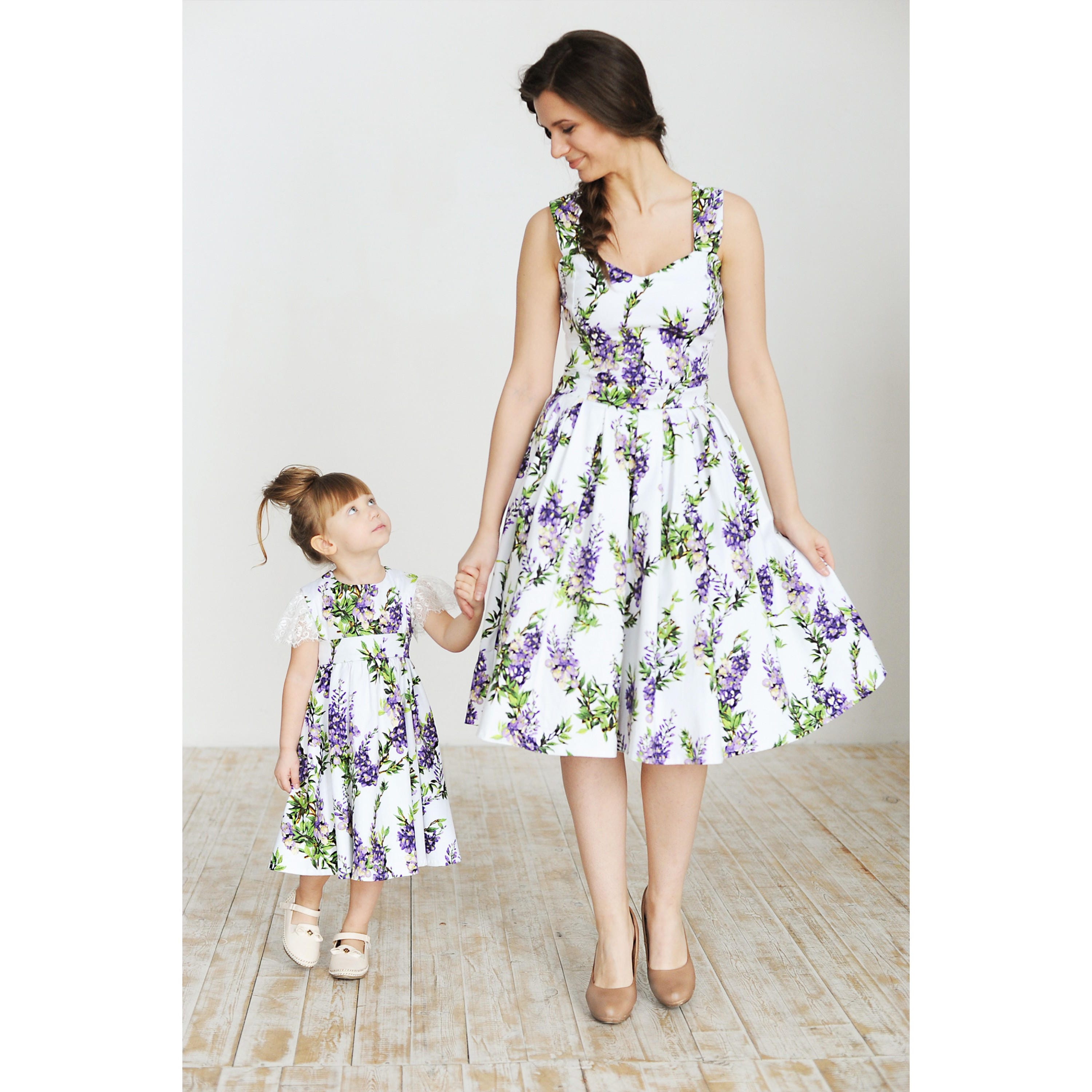Cotton Mother daughter matching dress with floral print Mom