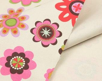 Pretty FLOWER pattern canvas Cotton Fabric 45*145 cm 1/2 Y