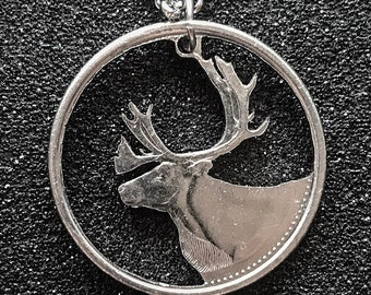 Caribou Canadian Quarter Cut Coin Necklace Pendant