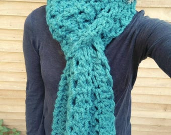 Teal super scarf, super chunky lace scarf, on trend, women's knitwear, extra long scarf,  gifts for her