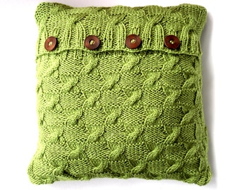 Green cable knit  cushion cover , throw pillow cover,  handknit pillow ,  Autumn knit , custom cushion, decorative pillow, apple home decor