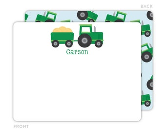 Tractor Note Cards - Personalized Flat Note Cards - Tractor Notecards - Kids Stationery - Tractor Stationery - Kids Thank You Cards