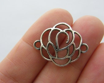 6 Rose connector charms  antique silver tone F83