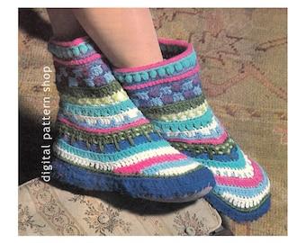 Crochet Slipper Pattern Vintage Bootie Crochet Pattern Womens Slipper PDF Instant Download- C103