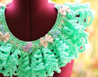 Mermaid Mint Lace Collar - Crochet Statement Bib Necklace