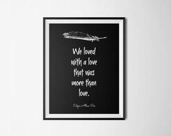 Edgar Allan Poe Literary Print - Bookish Quote Digital Print