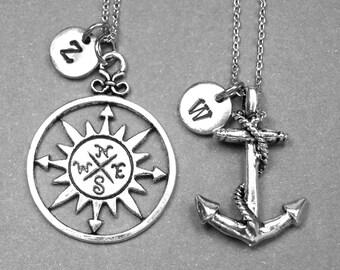 Best friend necklace, compass necklace, anchor necklace, nautical necklace, nautical jewelry, personalized necklace, best friend jewelry