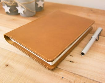 Leather Taroko Enigma or Mystique Cover, A5 Notebook Cover, Bullet Journals, Fountain Pen Tomoe River Paper, Horween, Tan, Tan