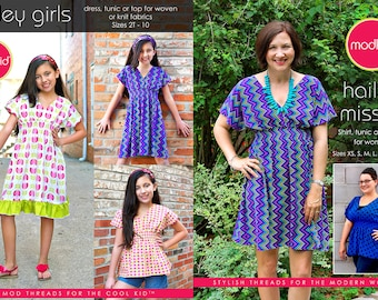 Hailey Girls and Misses PDF Pattern Bundle by MODKID - Instant Digital Download - Buy 2 and SAVE!