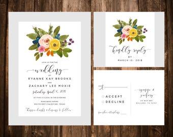 Invitations de mariage Floral aquarelle; Invitations de mariage floral; Invitations de mariage