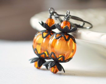 Fun Halloween Earrings, Orange Pumpkins, Bright Lucite Beads, Black Gunmetal, Leverback Earwires, Autumn Jewelry