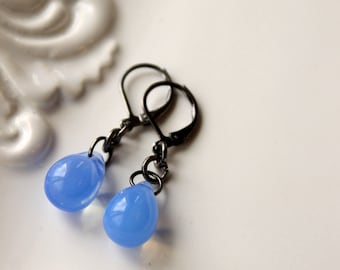 Blue Dangle Earrings / Water Drop / Rain Drop / Azure Blue Earrings / Weekend Earrings / Casual Jewelry / Everyday Earrings