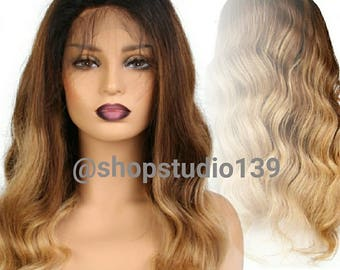 Brazilian Human hair ombre lace front wig custom made and colored