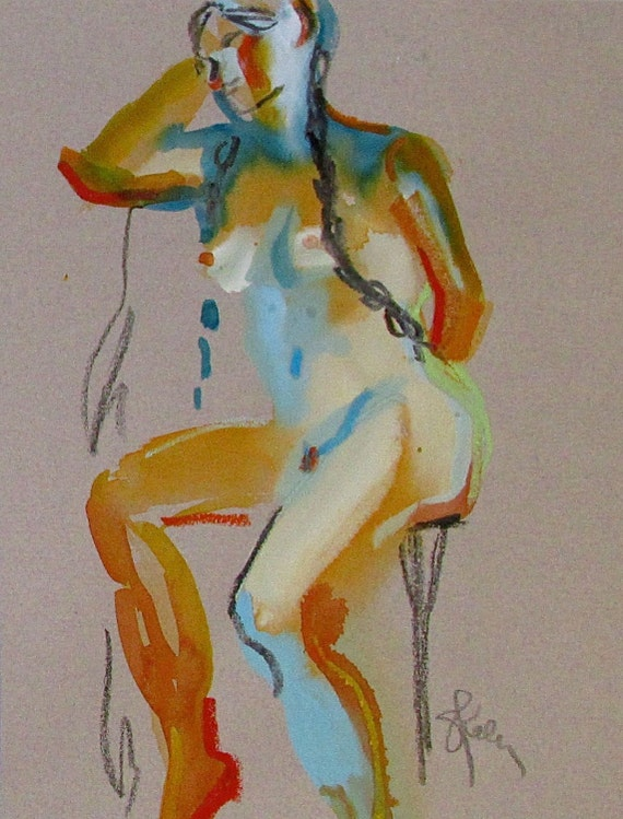Nude painting- Original watercolor painting of Nude #1341 by Gretchen Kelly