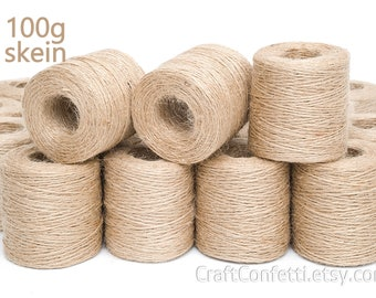 Jute twine 1.5mm Jute cord Jute string Home decor twine Jute bag supplies Gift tag string Macrame cord Craft twine Burlap string cord / 100g