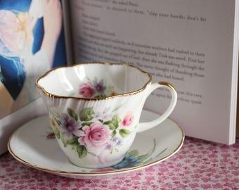 Vintage - Floral Teacup and Saucer Set - Royal Heritage Bone China & Dephine Saucer - MISMATCHED set