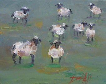 Pasture Sheep oil painting landscape with farm animals Art by Delilah