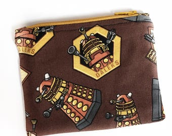 Doctor Who coin purse, Dalek purse, Christmas gift, change purse, small pouch, zipper pouch, card holder, geeky gift, scifi gift